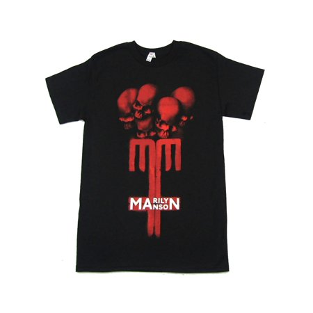 Marilyn Manson Skull Cross MM Black T Shirt (Marilyn Manson Las Vegas Halloween)