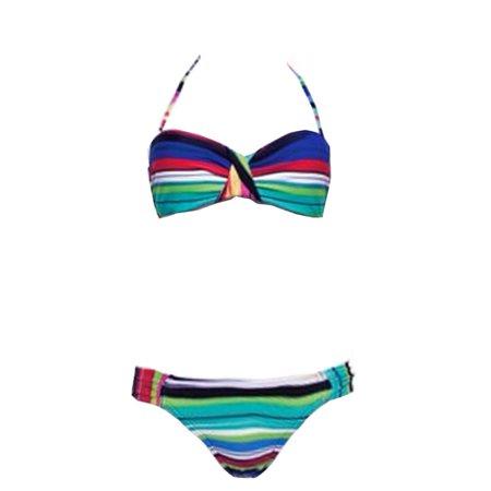Fire Fly Dance Women's Multi Stripe Bandeau Halter 2 Pc Bikini Swimsuit