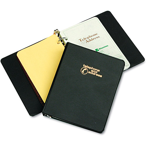 "Wilson Jones Looseleaf Phone/Address Book, 1"" Capacity, 5-1/2 x 8-1/2, Black Vinyl"