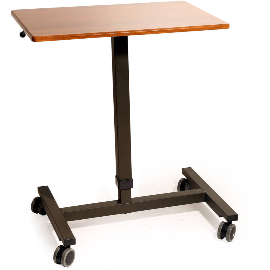 AIRLIFT Pneumatic Laptop Computer Mobile Desk Cart, Height-Adjustable to 43.5'' H, Maple
