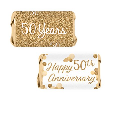 Gold 50th Anniversary Party Mini Candy Bar Wrapper Stickers, 54 - 50th Anniversary Paper Products