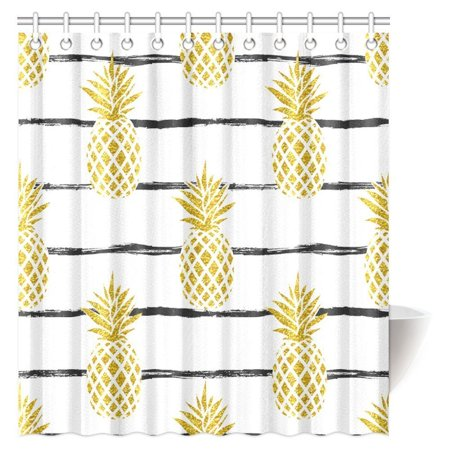 MYPOP Pineapple Decor Shower Curtain Tropical Theme Vintage Stripe Style Fruit Bathroom 66 By 72 Inches