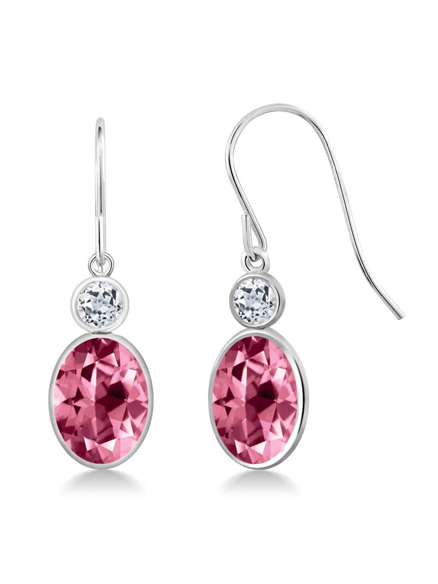14K White Gold Earrings Topaz Set with Oval Pink Topaz from Swarovski by