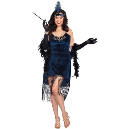 Dreamgirl Women's Plus-Size Downtown Doll Halloween Costume, Blue, 1X/2X