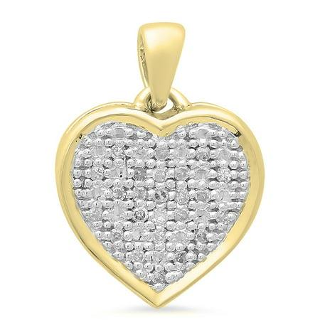 - 0.04 Carat (ctw) 18K Yellow Gold Round White Diamond Ladies Heart Pendant