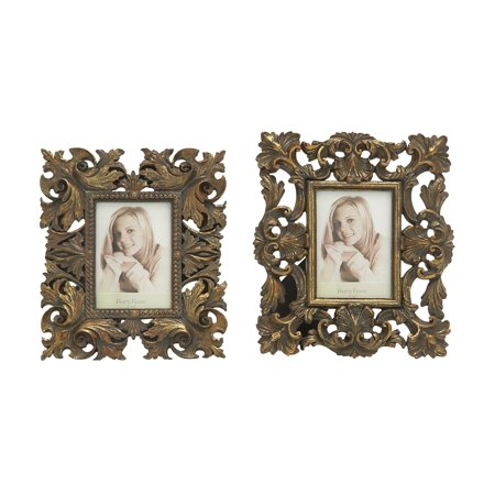 Decmode Set of 2 traditional 11 x 9 inch bronze polystone leaf and scroll design rectangular photo frames, Bronze