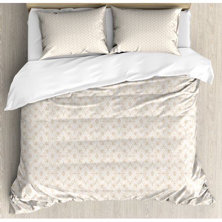 Damask Duvet Cover Set, Classical Damask in Faded Colors Retro Vintage Style with Traditional Design Elements, Decorative Bedding Set with Pillow Shams, Cream Tan, by Ambesonne