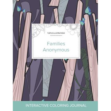 Adult Coloring Journal : Families Anonymous (Turtle Illustrations, Abstract Trees) - Mr Turtle