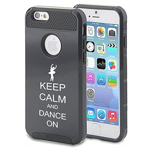 Apple iPhone 6 Plus / 6s Plus Hybrid Shockproof Impact Hard Cover / Soft Silicone Rubber Inside Case Keep Calm And Dance On (Black),MIP
