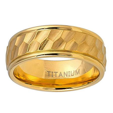 Men Women Titanium Wedding Band Ring 8mm Gold Tone Hexagon Carved Brushed Center Ring