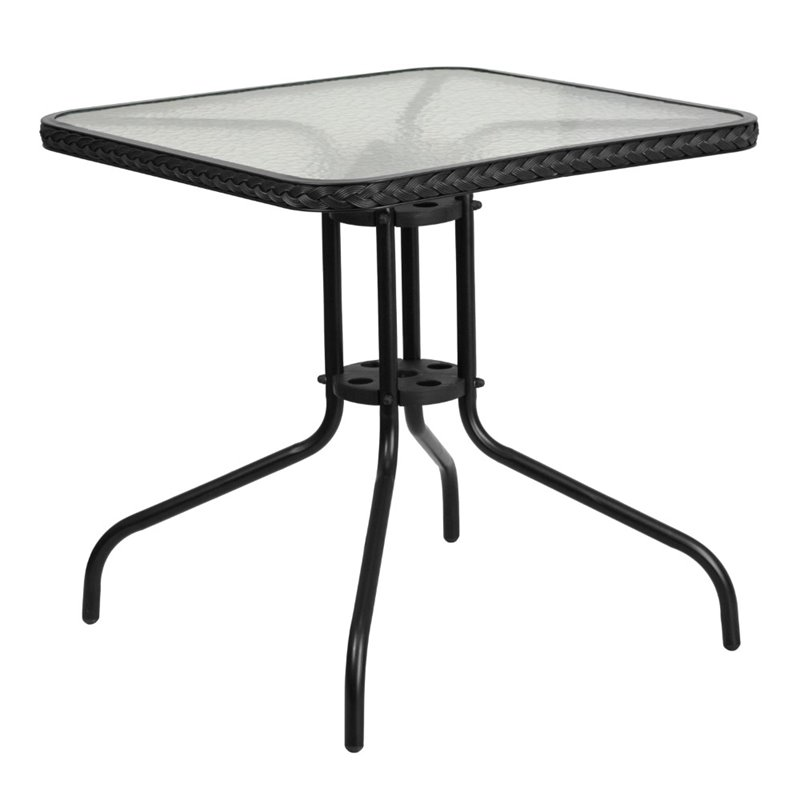 """Bowery Hill 28"""" Square Glass Top Patio Dining Table in Black"""