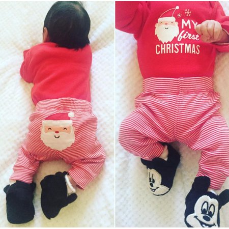 My First Christmas 2 Piece Outfits Santa Claus Romper+Pants Set