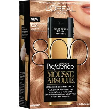 Hair Color Mousse - L'Oreal Paris Superior Preference Mousse Absolue Hair Color, 800 Pure Medium Blonde, 3.2 oz