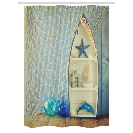 Nautical Stall Shower Curtain Boat Standing Against The Wall Other Aquatic Objects Sea Featured Picture Fabric Bathroom Set With Hooks