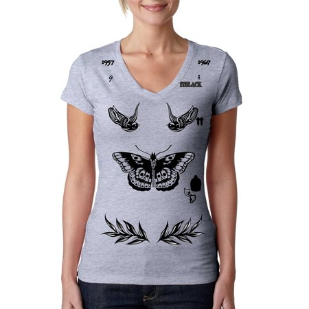 Allntrends Womens V Shirt Harry Style Tattoo One Direction Shirt
