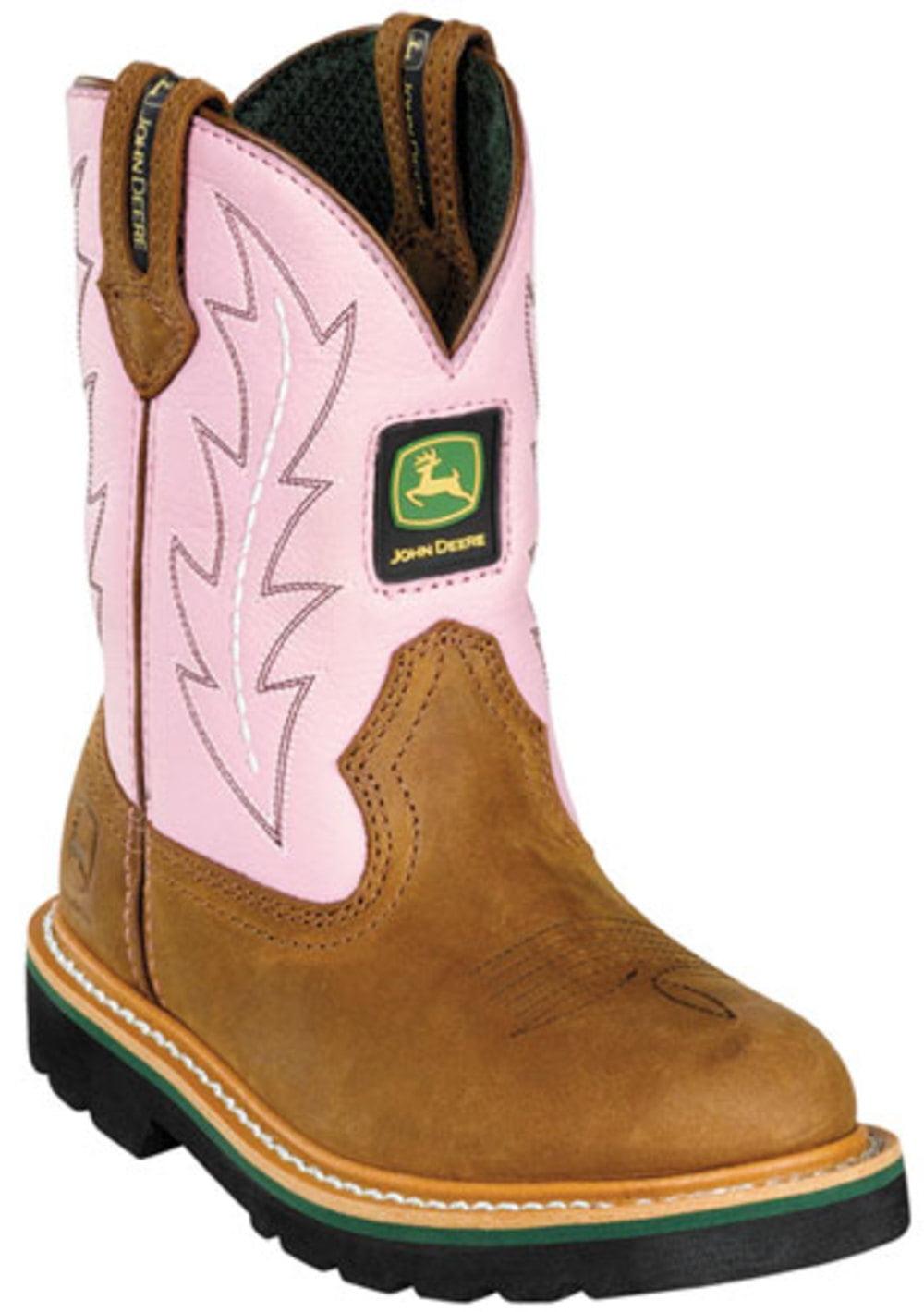 John Deere Kid's Boots Tan Pink 1.5 W by