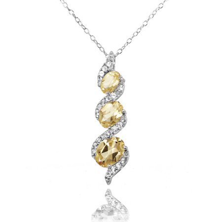 - Citrine and White Topaz Sterling Silver Oval S Design Three-Stone Journey Necklace