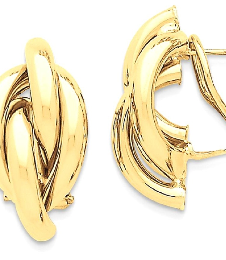 ICE CARATS ICE CARATS 14kt Yellow Gold Swirl Omega Back Post Stud Hoop Earrings Ear Hoops Set Ball Button Fine Jewelry... by IceCarats Designer Jewelry Gift USA