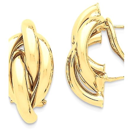 14k Yellow Gold Swirl Omega Back Post Stud Earrings Ball Button Gifts For Women For Her