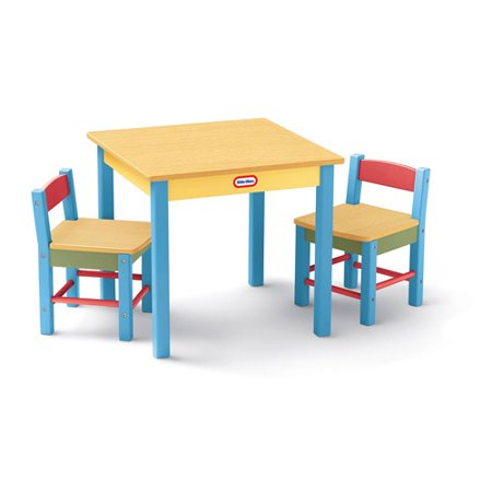 Little Tikes Deluxe Wooden Table And Chair Set Walmartcom