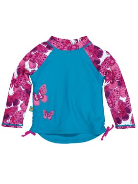 Sun Smarties Baby and Toddler Girl Rashguard - Blue, Red, and Pink - Long Sleeve