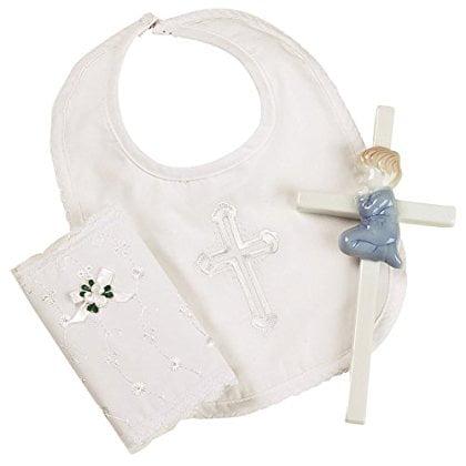 Elegant Baby Boy's Christening Gift Set Includes 100% Cotton Bib, Wall Hanging Porcelain Cross & Bible. Gift... by Elegant Baby