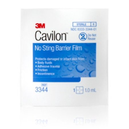 Cavilon No Sting Barrier Film, 1.0 mL Wipe, Alcohol Free, Sterile, 3M 3344 - Box of 25 Cavilon No Sting Barrier Film