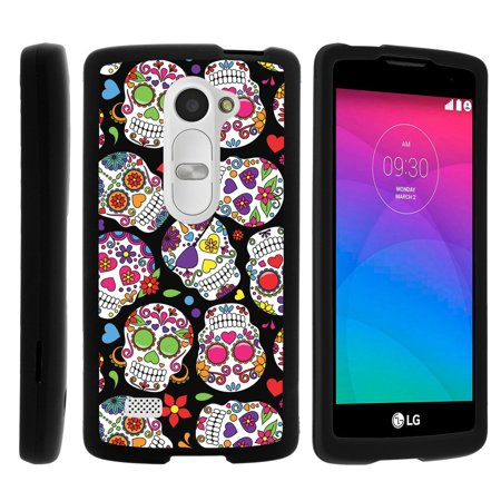 Lg Leon C40  Sunset L33l  Tribute 2 Ls665   Snap Shell  Matte Black  2 Piece Snap On Rubberized Hard Plastic Cell Phone Cover With Cool Designs   Sugar Skull Design