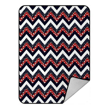 GCKG Dark Blue Red and White Star Chevron Fleece Blanket Throw Blanket 58x80inches - image 1 of 4