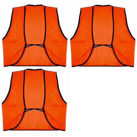 Ultimate Arms Gear 3 Pack of Outdoor Hunter Safety Neon Orange High Visible Visibility Vest, Hunting Hiking Camping Shooting Range Work Zone Car Truck RV ATV