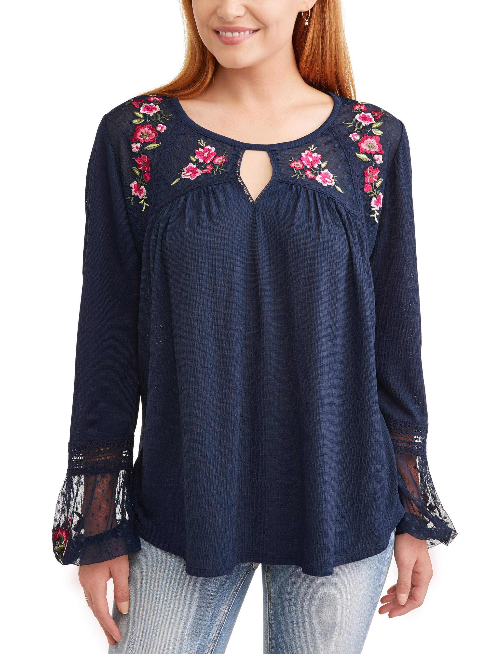 Women's Embroidered Peasant Top