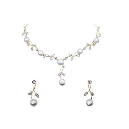 Faship Gorgeous CZ Crystal  Freshwater Pearls Floral Necklace Earrings (Gorgeous Pearl Set)