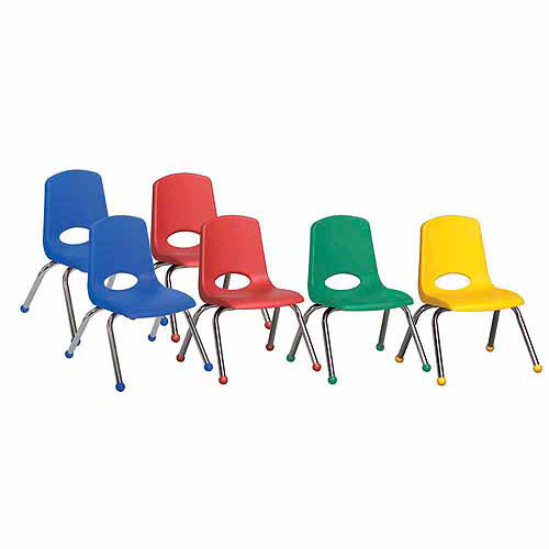 "12"" Stack Chairs with Chrome Legs and Swivel Glides, 6-Pack"