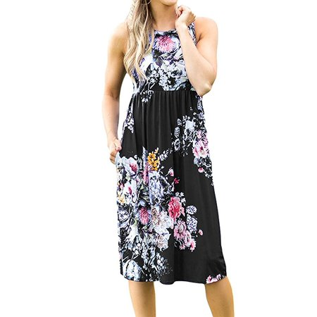 a71b5c10f8 Freshlook - Womens Summer Sleeveless Floral Print Racerback Midi Dresses  with Pocket - Walmart.com