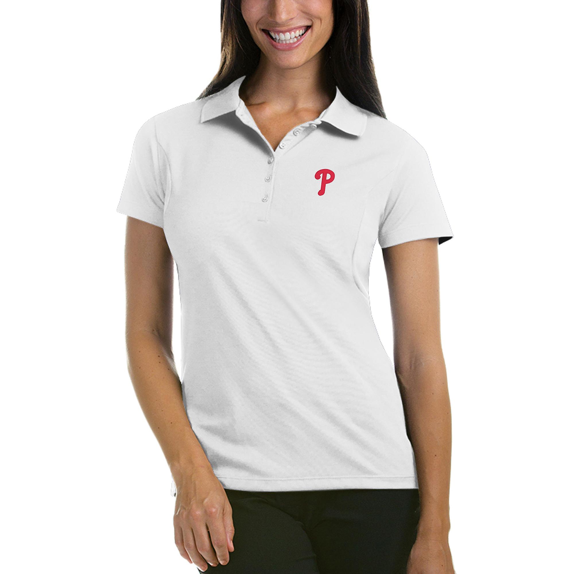 Philadelphia Phillies Antigua Women's Pique Xtra-Lite Polo - White