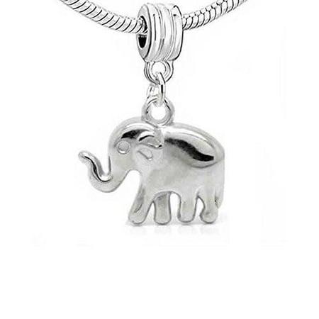 Elephant 3D Dangle Charm European Bead Compatible for Most European Snake Chain Bracelet African Elephant Charm