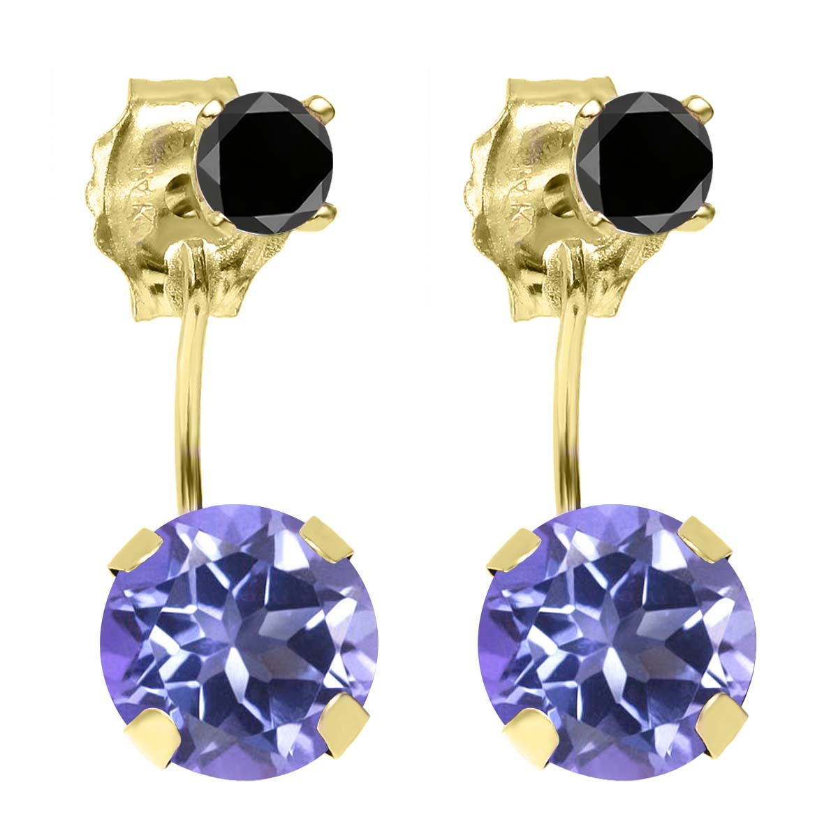 2.24ctw Round Blue Mystic Topaz Black Diamond 14K YG Top&Bottom Earrings