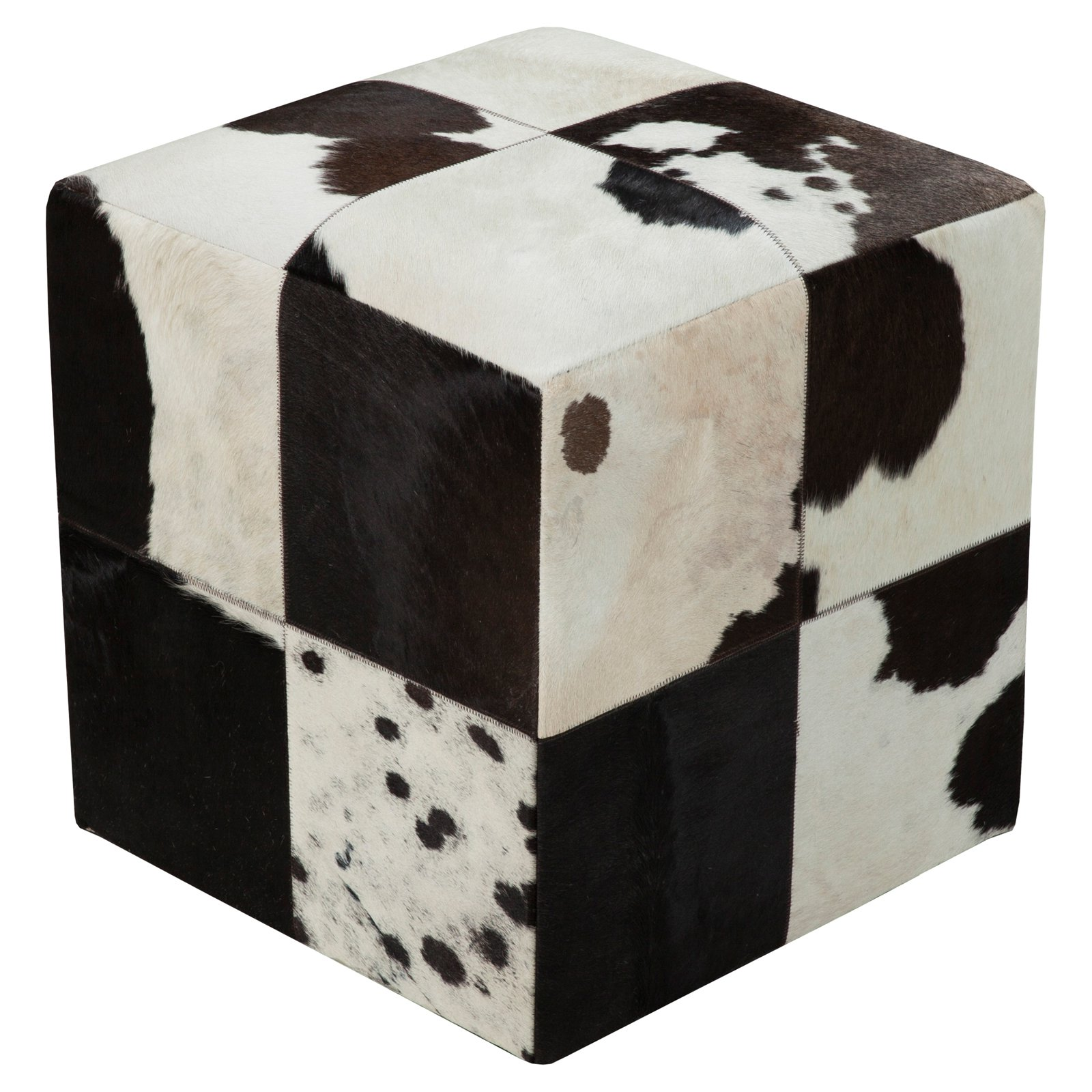 Surya 18 in. Cube Leather Pouf Brindle by Surya Rugs