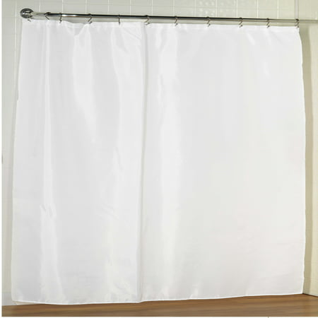White Extra Wide Fabric Shower Curtain Weighted Hem