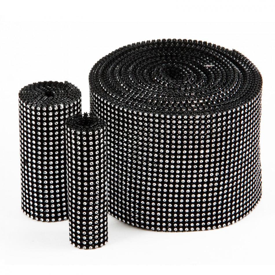 Koyal Diamond Rhinestone Ribbon Wrap Roll, 10-Yard, Black/Silver