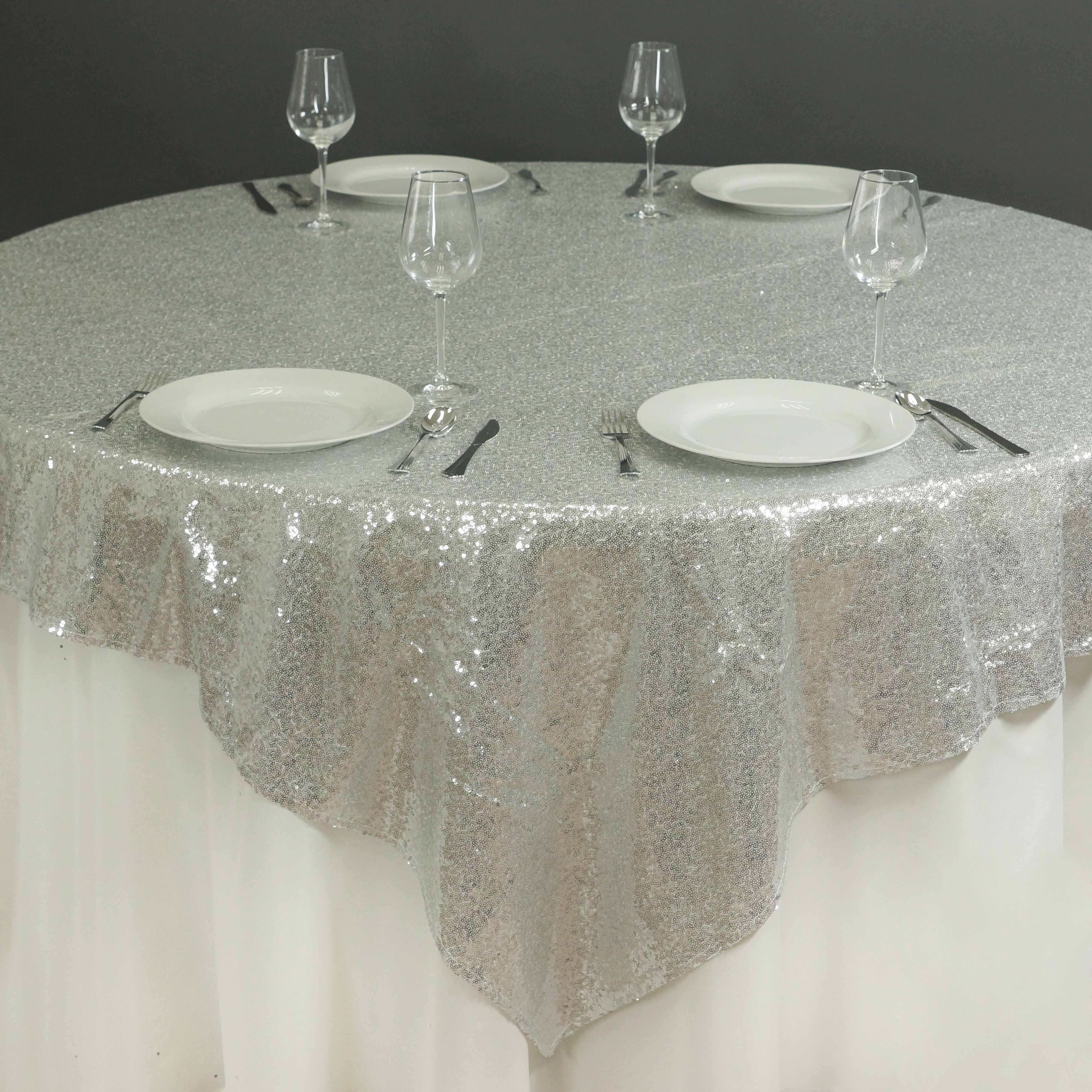 "BalsaCircle 60x60"" Sequin Square Table Overlay"