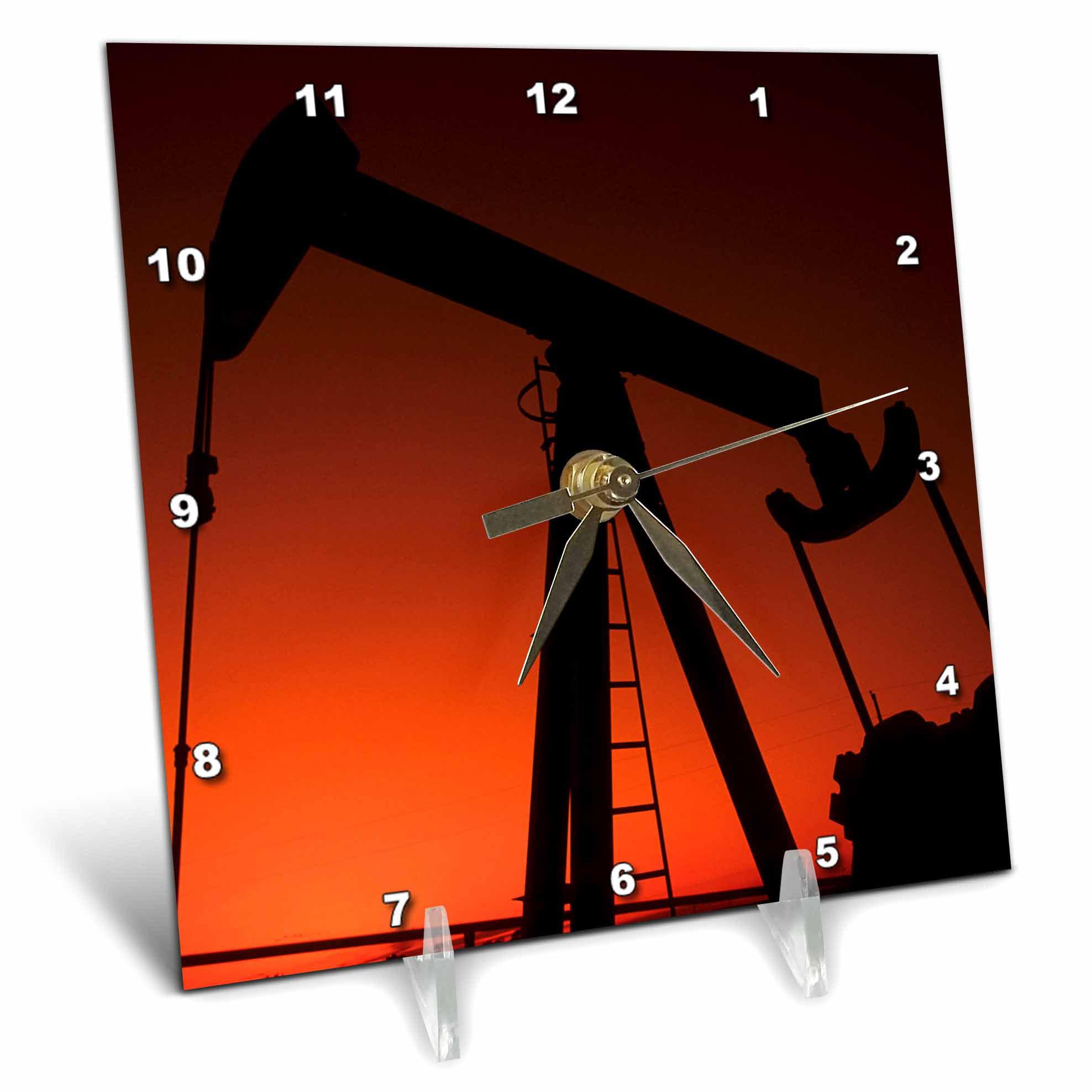 3dRose Industry, Oil rig, Tulsa, Oklahoma US37 BBA0001 Bill Bachmann, Desk Clock, 6 by 6-inch by 3dRose