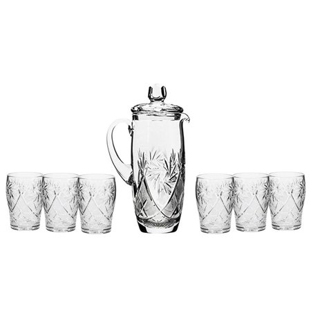 Set of 7 35-Oz Hand Made Vintage Cut Crystal Beverage Carafe with 6 Tumblers (3)