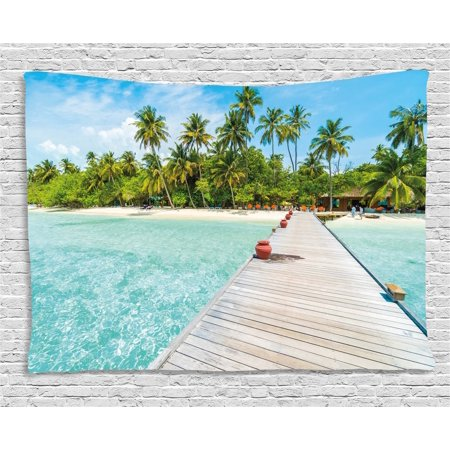 Tropical Tapestry, Maldives Island with Beach Wooden Deck Palms Exotic Holiday Picture, Wall Hanging for Bedroom Living Room Dorm Decor, 60W X 40L Inches, Aqua Turquoise Fern Green, by Ambesonne