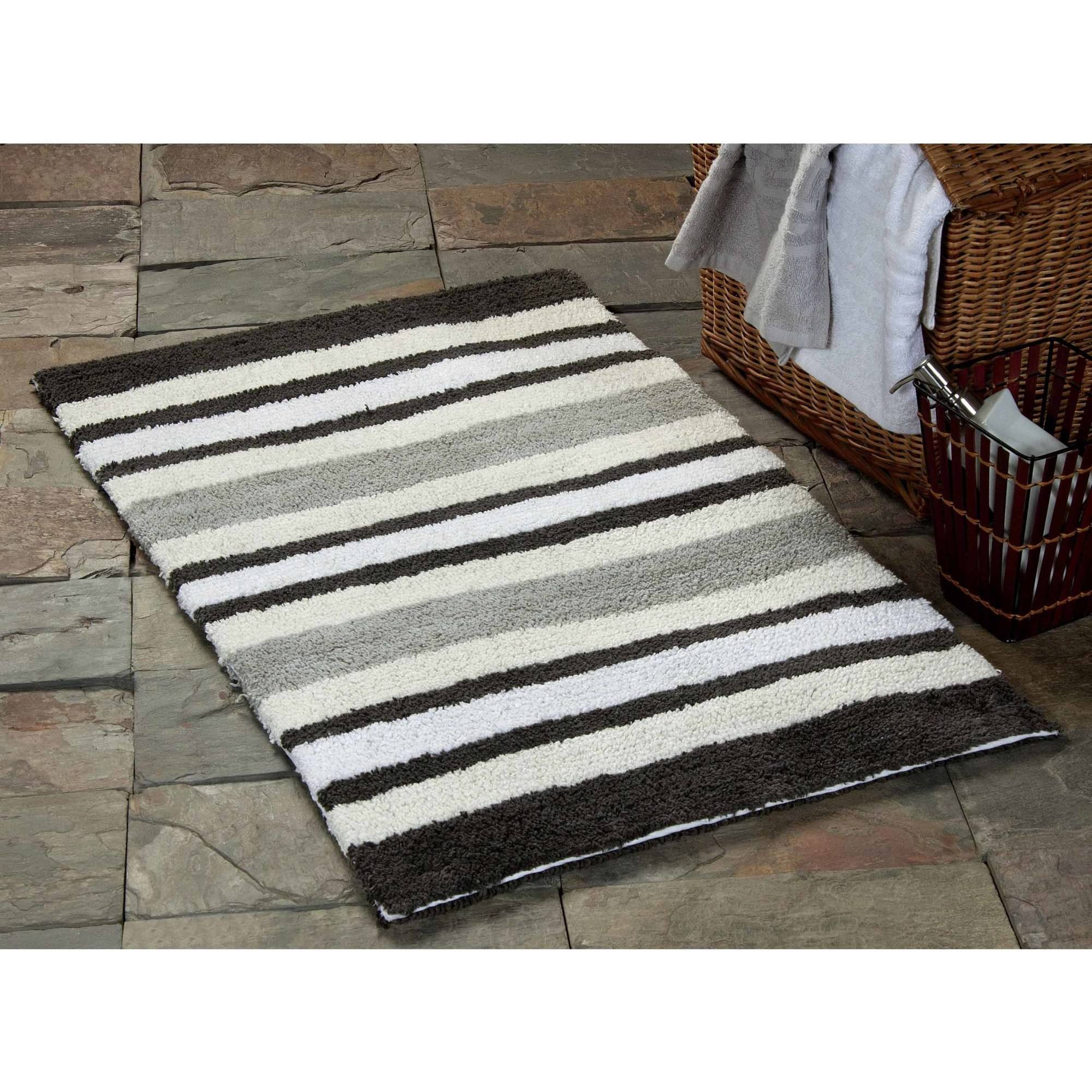 Saffron Fabs Bath Rug 2-Piece Set, Reversible Textured Multiple Color Stripes Pattern, Assorted Colors and Sizes