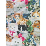 David Textiles Fleece Printed Fabric / Garden Cats By Jenny Newland Art / Sold By The Yard