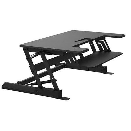 Z Type ERGONOMIC Adjustable SIT 'N' STAND Desk Riser Tabletop ELEVATING Workstation WITH one-touch lock mechanism Z Type Height-Adjustable Elevating Sitting 6.5  - 16.3  in & Standing Computer Monitor Desk Riser Converter, Fits Home Study and Office Tabletop Workstation, Supports 33lbs    XtremPro Z Type Height-Adjustable Standing Desk Riser up to 16.3  in, 2 Tier for 2 PC Monitors Space 35  Width w/Keyboard Tray 31  Width, Fits Home, Office Supports 33lbs - Black (11118)Product Information:Color: BlackDesktop Load: supports up to 33lbs / 15KgKeyboard Load: supports up to 4.5lbs / 2KgHeight adjust: 6.5  - 16.3  / 165 - 415mmSize: 36.6 (w) x 24.2 (D) x 6.5 (H) - 16.3 (H) / 930mm(w) x 615mm(D) x 165mm(H) - 415mm(H)Function:Easy Setup: Heavy duty: Supports up to 30 lbs, Ships Fully AssembledSit to Stand: Sit and stand using experience. users to get a healthy balance and work smoothly.Spacious: The top surface measures  36.6 (w) x 24.2 (D)Sturdy Construction: The Sturdy structure with no wiggling when height adjusted and used. Durable double gas spring provides smooth height adjustment. (Height adjust: 6.5  - 16.3  / 165 - 415mm).Innovative one-touch height lock mechanism.Can be used as monitor riser at the lowest position.Space well management both above and under the desktop. Easy Setup: Heavy duty: Supports up to 30 lbs, Ships Fully AssembledSit to Stand: Sit and stand using experience. users to get a healthy balance and work smoothly.Sturdy Construction: The Sturdy structure with no wiggling when height adjusted and used. Durable double gas spring provides smooth height adjustment. (Height adjust: 6.5  - 16.3  / 165 - 415mm).Innovative one-touch height lock mechanism.Can be used as monitor riser at the lowest position. Space well management both above and under the desktop.