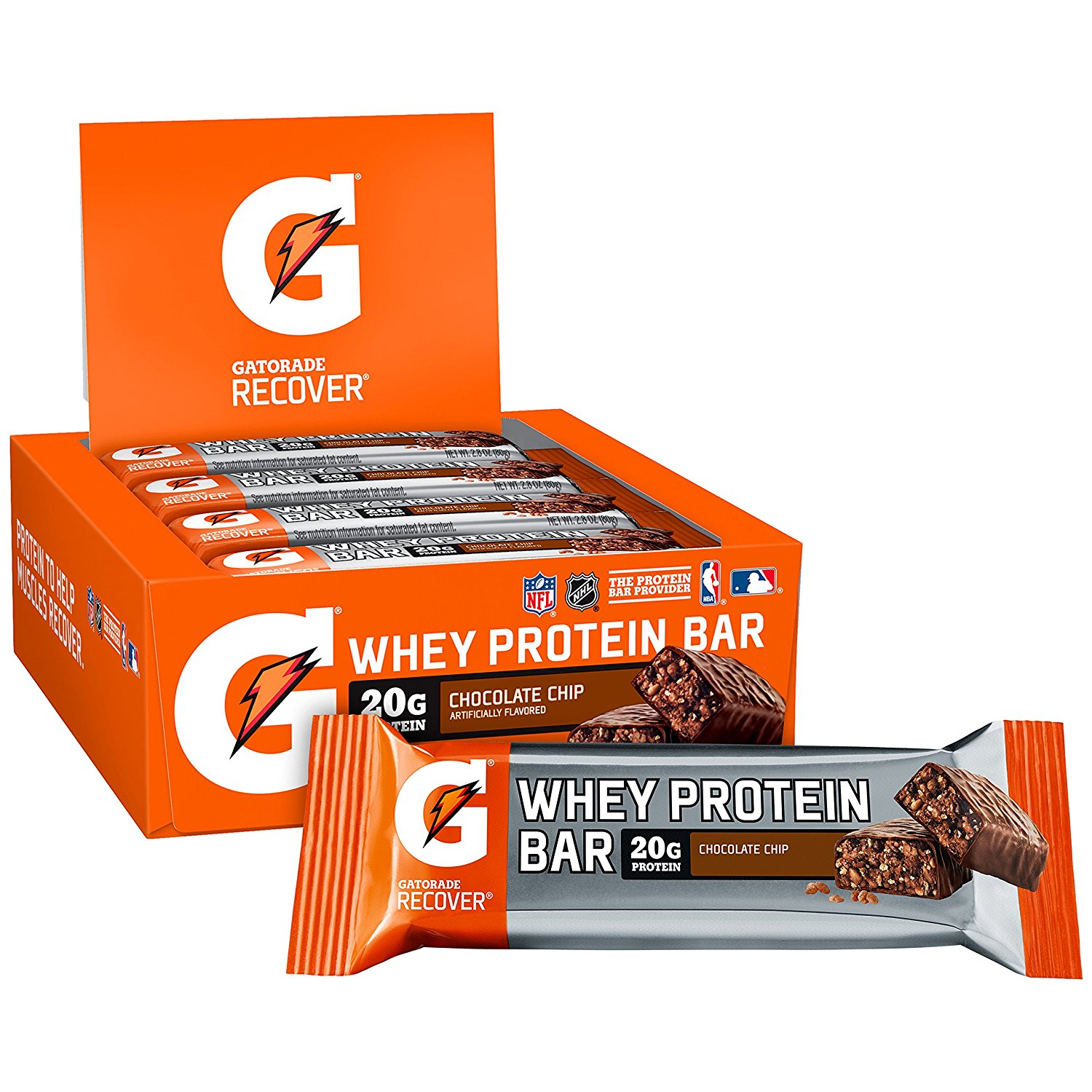 Gatorade Recover Whey Protein Bar, Chocolate Chip, 20g Protein, 12 Ct