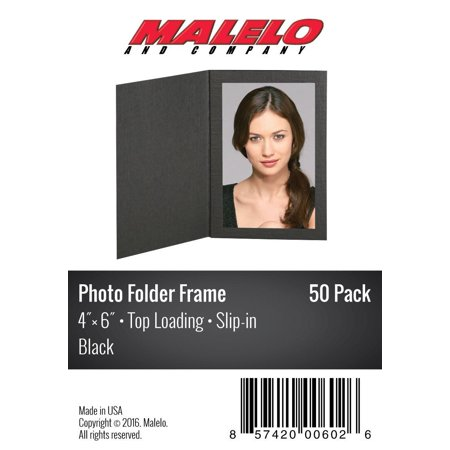 Black Cardboard Photo Folder Frame 4X6 - Pack of 50 (Photo Frame Packs)