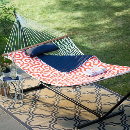 Coral Coast 11 ft. Cotton Rope Double Hammock with Metal Stand Deluxe Set - Orange/Navy